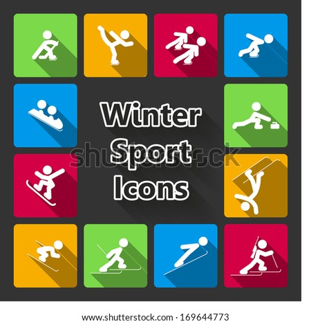 Winter sports icons set of ski skating hockey curling isolated vector illustration - stock vector
