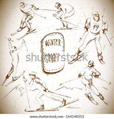 Winter sports, skier sketch  - stock vector