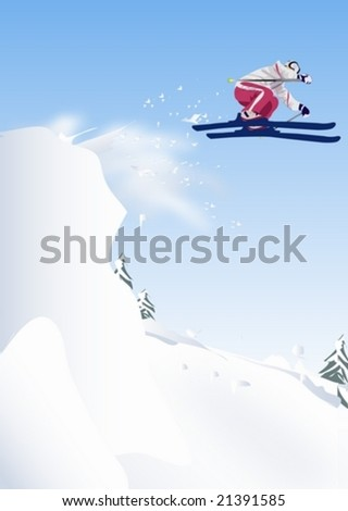 Winter Story - playing and jumping young skier on the steep slope on the background with bright blue sky and beautiful white snow field of isolated rural area : vector illustration - stock vector