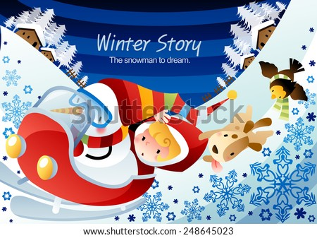 Winter Story with cute little friends and happy smiling animals on a background with blue sky and ice world : vector illustration - stock vector