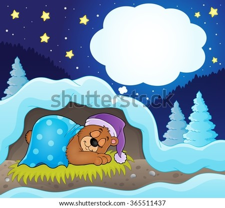 Winter theme with dreaming bear - eps10 vector illustration. - stock vector