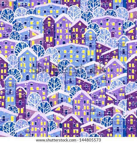 winter town, vector illustration, eps 10 - stock vector