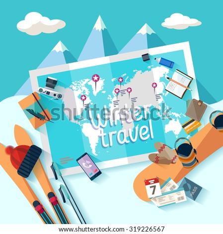 Winter travel. Flat design. - stock vector