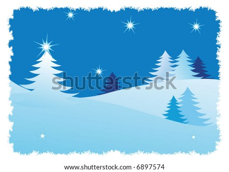 Winter trees abstract background - stock vector