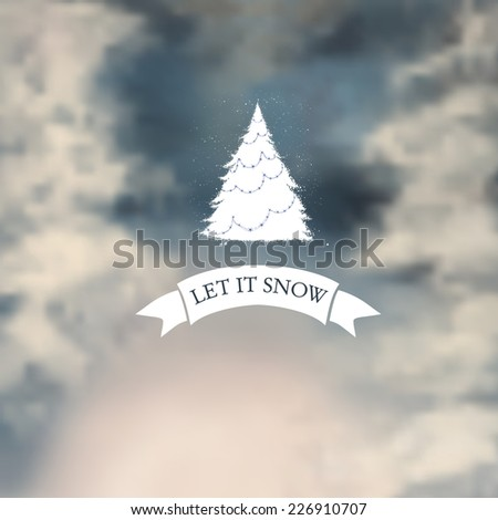 Winter typography, with blurry photo as a background. Vector, Eps 10, gradient mesh.       - stock vector