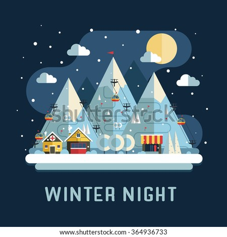 Winter vacation flat landscape. Ski mountain resort  concept at night. Winter time night landscape in flat design with funiculars, mountains, medicine tent, house and snow.  - stock vector