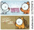 Winter vector card with funny cartoon tiger and text. - stock vector
