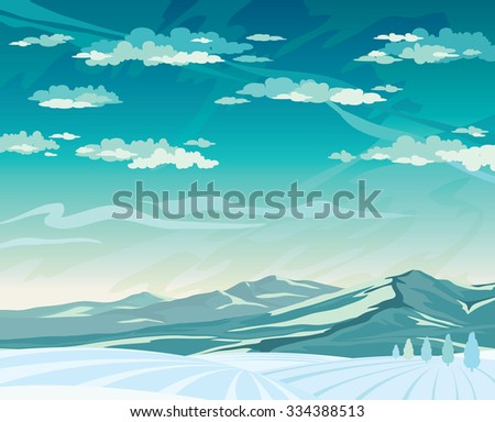 Winter vector landscape with mountains and cloudy blue sky - stock vector