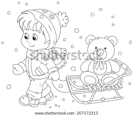 Winter walk. Child with a sled and toy bear - stock vector