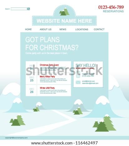 Winter website theme - stock vector