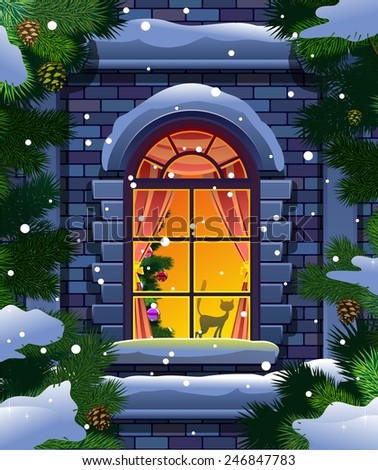 Winter window and spruce - stock vector