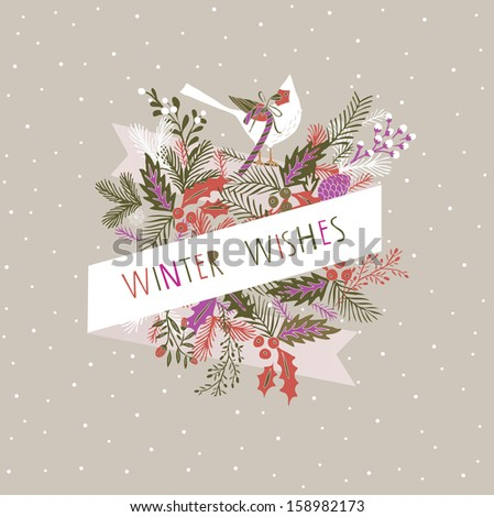 Winter Wishes Print Design - stock vector