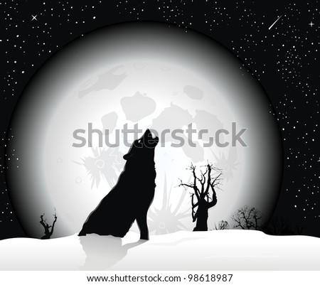 Winter Wolf wallpaper - stock vector