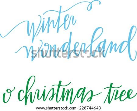 Winter wonderland & Christmas trees - stock vector