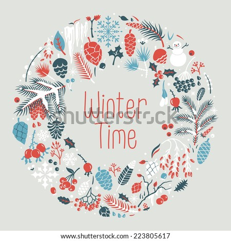 Winter wreath with  snow, cones, berries, pine branches, leafs. Vector illustration for postcards, calendars, posters, prints - stock vector