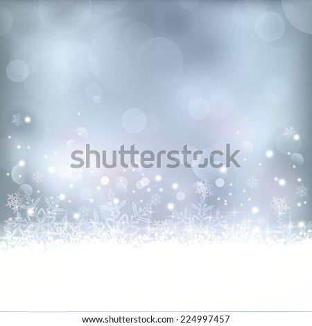 Wintry blue abstract background with out of focus light dots, stars,snowflakes and copy space. Great for the festive season of Christmas to come or any other winter occasion. - stock vector