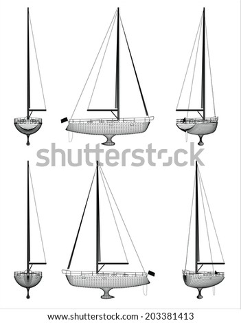 Wire frame design of luxury boat over white background - stock vector
