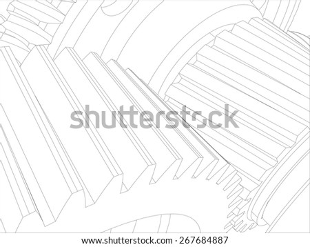 Wire-frame gears with shafts. Close-up. Vector illustration, 3d render - stock vector