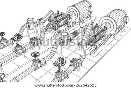 Wire-frame  industrial equipment oil and gas pump. Tracing illustration of 3d. EPS 10 vector format. - stock vector