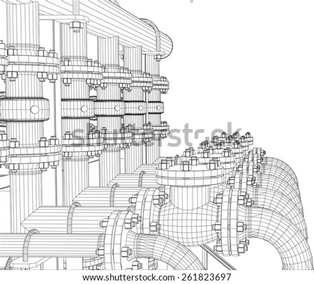 Wire-frame industrial equipment on white background. EPS 10 vector format. Vector rendering of 3d - stock vector