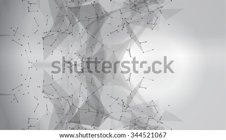 Wire frame mesh polygonal element. Abstract form with connected lines and dots. Vector Illustration EPS10. Polygonal background, technology design, dot clusters.  Hexagon,  research, triangle, network - stock vector