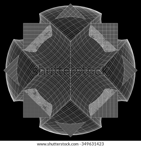 Wire Frame Surface Box Sphere Background Vector  - stock vector