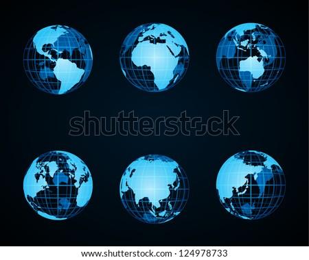 Wire globe earth icon set vector design elements - stock vector