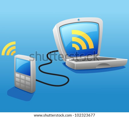 wired connection between mobile phone  and laptop - stock vector