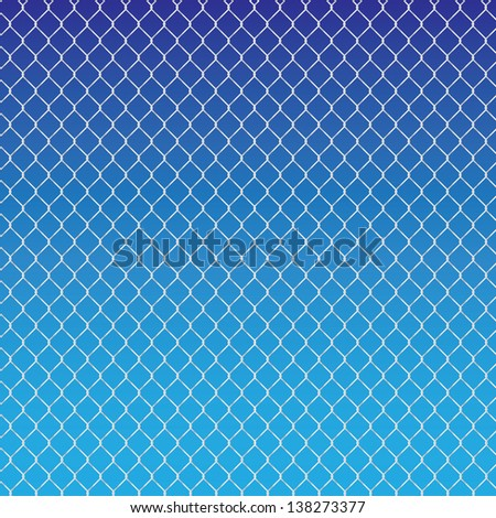 wired fence on a blue background - illustartion - stock vector