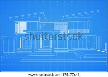 Wireframe blueprint drawing of 3D house - Vector illustration - stock vector