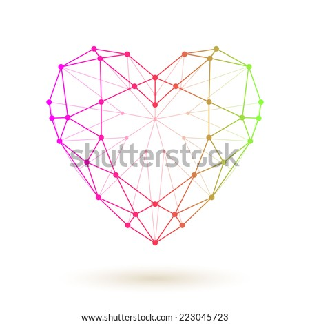 Wireframe colorful heart. Love symbol collected of dots and lines. - stock vector