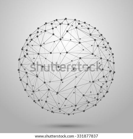 Wireframe 3D mesh polygonal vector sphere. Network line, design sphere, dot and structure illustration - stock vector