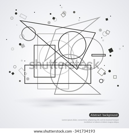 Wireframe mesh element with triangle,circle, square shapes. Abstract form. Connected lines and dots. Vector Illustration. Abstract molecule design. Technology background. Place for your text. - stock vector