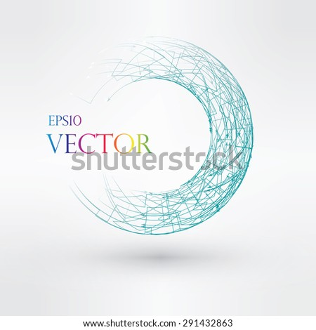 Wireframe mesh polygonal element. Torus with connected lines and dots. Vector Illustration EPS10. - stock vector