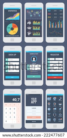 WIreframe mobile app ui kit, 9 different mobile app ui kit screens, statistic screen, stock activity screen, diagram screen, sign up screen, sign in screen, registration screen, calculator screen. - stock vector