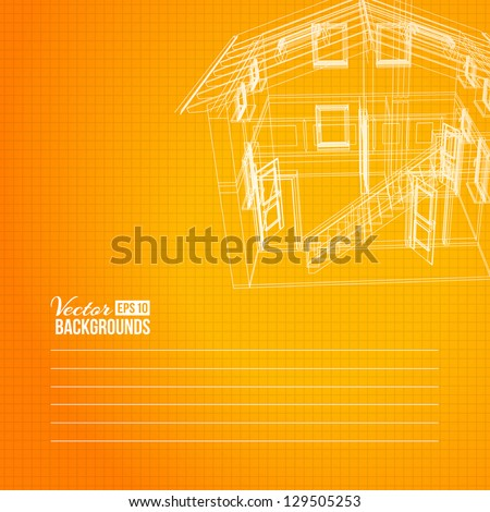 Wireframe of building. Vector illustration, eps10, contains transparencies, gradients and effects. - stock vector