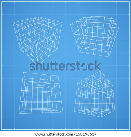 Wireframe of cubic box space ( 4X4 unit ) on blueprint background - Vector illustration - stock vector