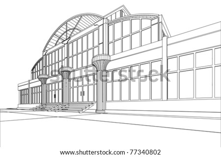 wireframe of office building - stock vector