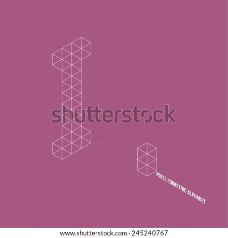 Wireframe Pixel Isometric Alphabet Letter I - Vector Illustration - Flat Design - Typography - stock vector