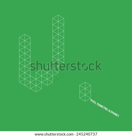 Wireframe Pixel Isometric Alphabet Letter W - Vector Illustration - Flat Design - Typography - stock vector