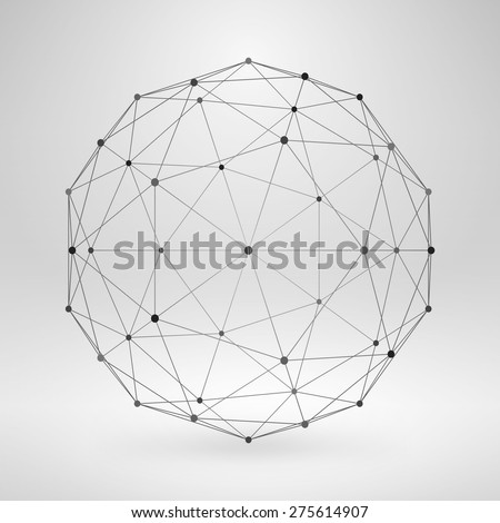 Wireframe Polygonal Element. 3D Sphere with Lines and Dots - stock vector