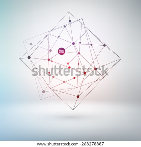 Wireframe Polygonal Element for Abstract Background Design. Lines and Dots. - stock vector