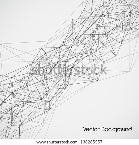 Wireframe Surface Vector Background - stock vector