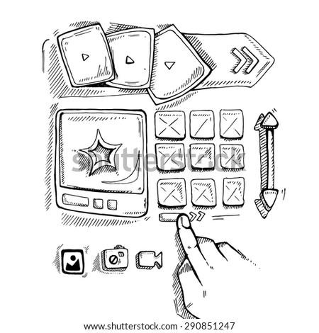 Wireframe UI Kit. Web design portfolio sketch elements. Hand press navigation buton - stock vector
