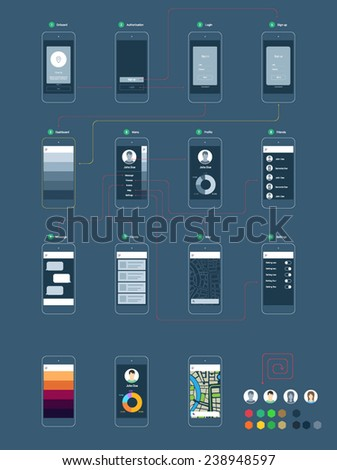 Wireframe ux kit for mobile application prototype with flowchart - stock vector
