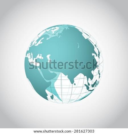Wireframe world globe vector illustration - stock vector