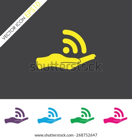 Wireless and hand vector icon. - stock vector