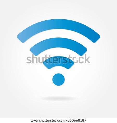 Wireless and wifi icon or sign for remote internet access. Podcast vector symbol. - stock vector