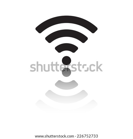 Wireless and wifi icon or sign for remote internet access. Podcast vector symbol. Black on white background. - stock vector