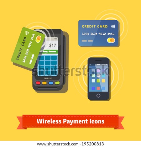 Wireless business payment flat icon set. Wireless POS terminal scanning a credit card and mobile phone with NFC. EPS 10 vector. - stock vector